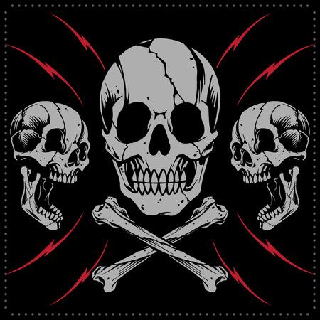 Skulls and bone cross vector Vector