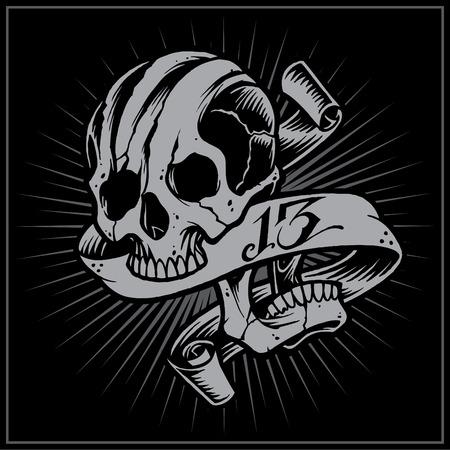 Skull and Ribbon Illustration