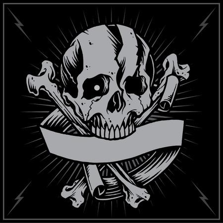 クロス頭蓋骨骨とリボン