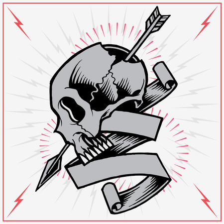 Skull Arrow and Ribbon Illustration