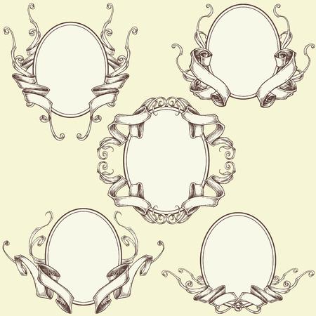 Ribbon Frame and Border Ornaments - Set 03 Vector