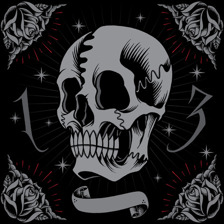 star tattoo design: Skull and Roses Frame in Old school tattoo style