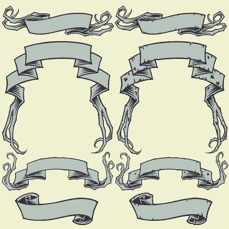 hand torn: Ribbons and Damaged Ribbons set 001