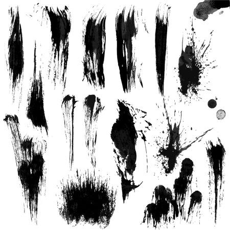 ink painting: Brushes Stroke Greyscale volume set 02 Illustration
