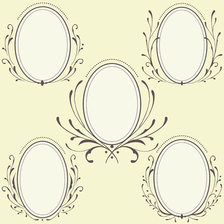 period: Oval Floral frames ornament