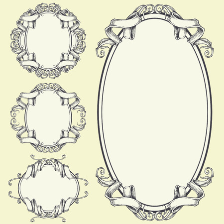 Ribbon Frame and Border Ornaments set 05 Stock Vector - 30657548