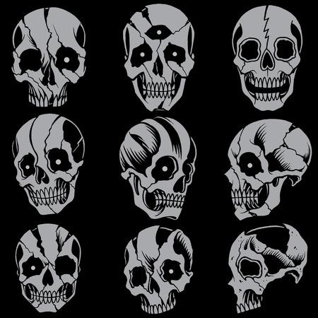 Skulls Old school style Set 01  Vector