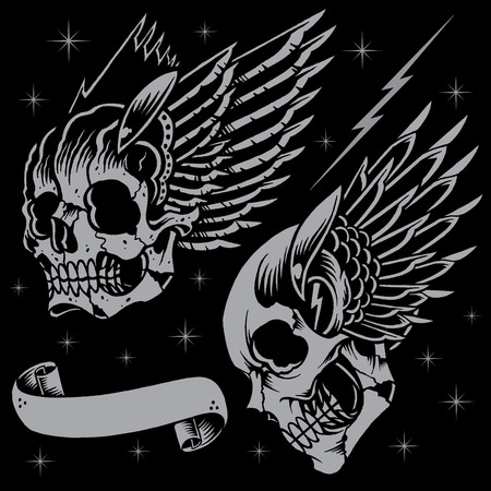 Skulls and wings Vector