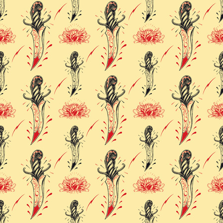 florid: Tattoo seamless Pattern in old school style.