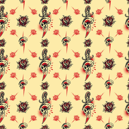 Tattoo seamless Pattern in old school style.