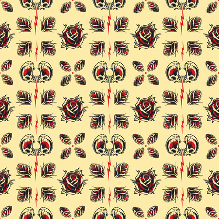 Tattoo seamless Pattern in old school style. Vector