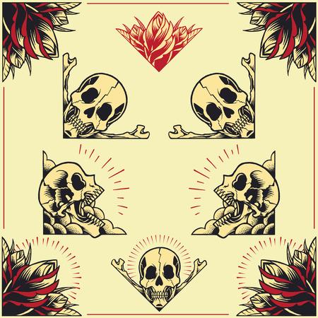 01: Skull and Rose Frames set 01