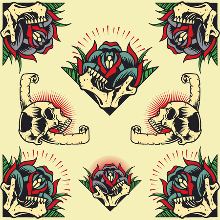 classic tattoo: Skull and Rose Frames