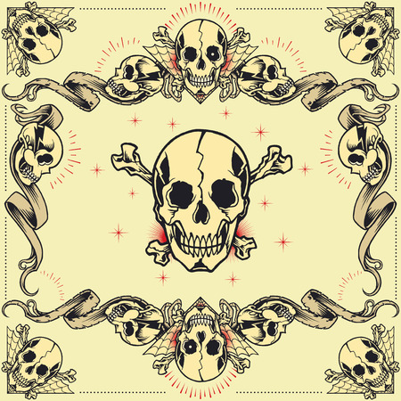 skull design: Skull and Ribbon Frames set 07