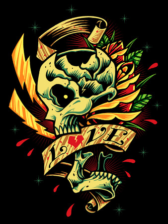 Skull, Roses and Ribbon Vector