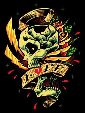 Skull, Roses and Ribbon Vector