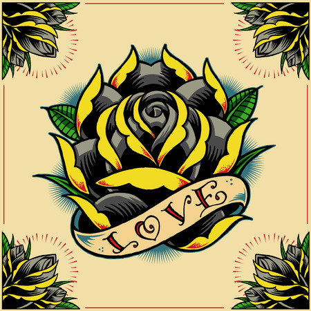 rose tattoo: Rose, Ribbon and Roses