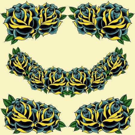 hojas antiguas: Rosas marco