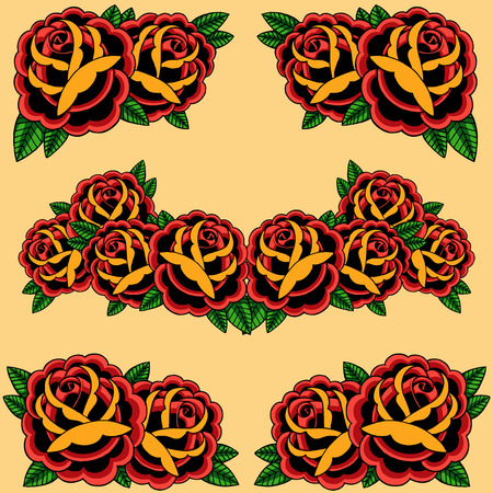 old school: Roses frame set  Illustration