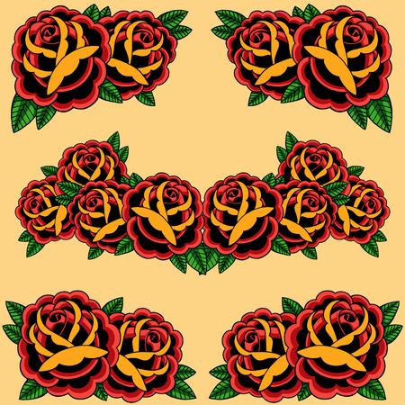 hojas antiguas: Set Marco de las rosas