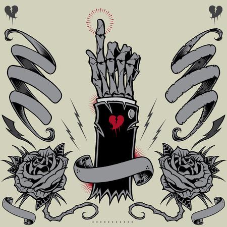 Skeleton Hand, linten, rozen en Thunder Stock Illustratie