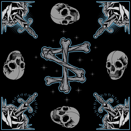 Roses frame, Skull and Bones cross