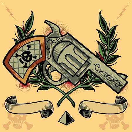 vector skull danger sign: Gun, Wreath, Ribbons and Pyramid