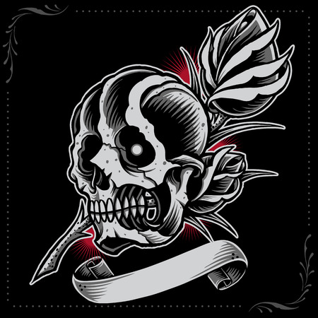old style: Skull, Rose and Ribbon
