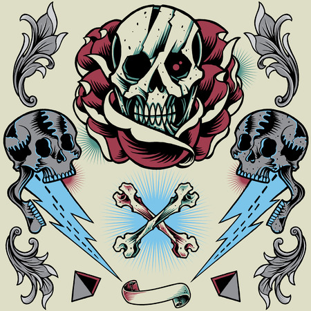 old style: Skull, Rose, Thunder, Pyramid, Ribbon, Bone Cross and Floral Ornament Illustration