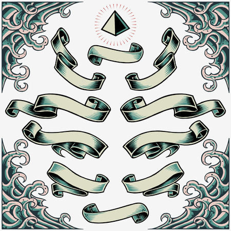 classic tattoo: Wave Frame, Ribbons and Pyramid Illustration