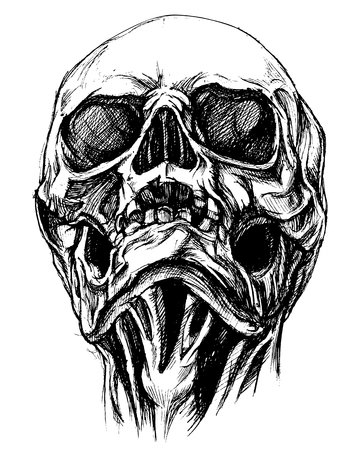 Skull Drawing line work vector
