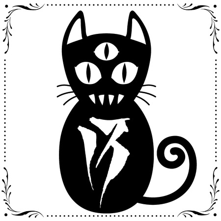 stoke: 3 Eyed Black Cat N0.13 with Floral frame Ornament vector for use.