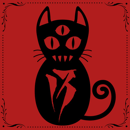 3 Eyed Black Cat N0.13 with Floral frame Ornament vector for use.