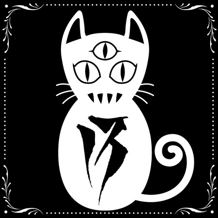 fang: 3 Eyed White Cat N0.13 with Floral frame Ornament vector for use. Illustration