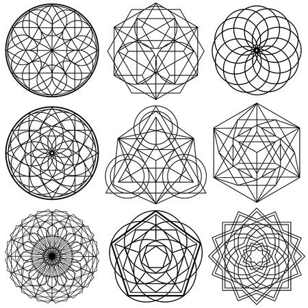 神聖な幾何学シンボル ベクトル - セット 02