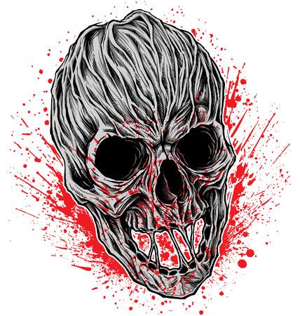 流血の頭蓋骨のイラスト。