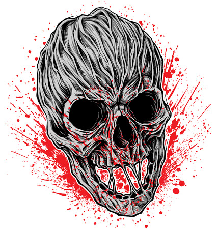 Bloody Skull illustration vector.