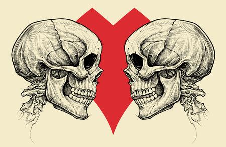カップル頭蓋骨とハートマークをベクトルします。