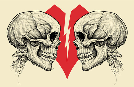 Couple Skulls and Broken Heart Symbol vector.