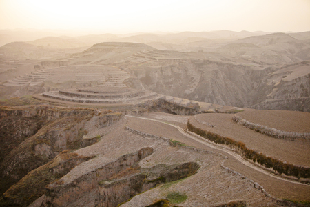 loess: The loess plateau of Shaanxi Province leaked.