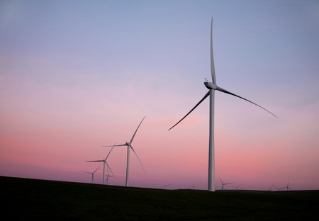 A group of windmills generating clean energy in Northern California. Stock Photo