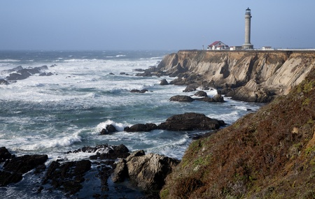 Scenic Point Arena Lighthouse on the Pacific Ocean in Mendocino County, Northern California, USA