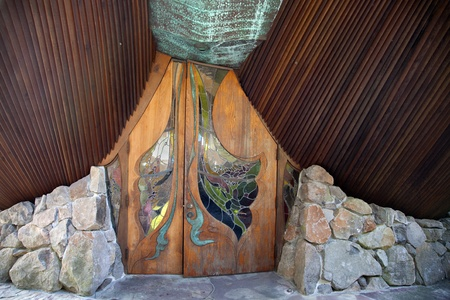 The front door of the Sea Ranch Chapel located in Sonoma County, Northern California designed by James Hubble  Stock Photo - 17044901