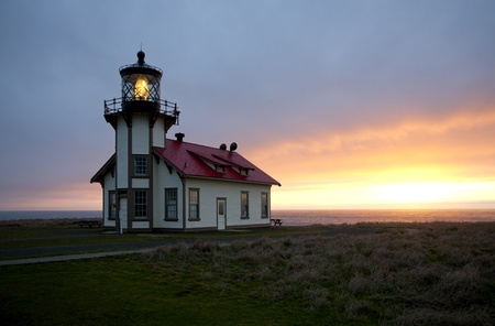 caspar: Sunset over the Pacific Ocean at Point Cabrillo Light Station near Caspar, Northern California, Mendocino County, USA Editorial