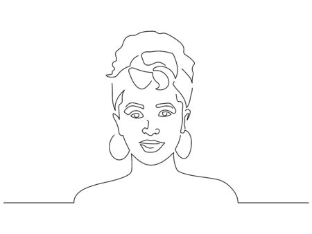 Woman with flowers on the head isolated line drawing, vector illustration design. People collection.