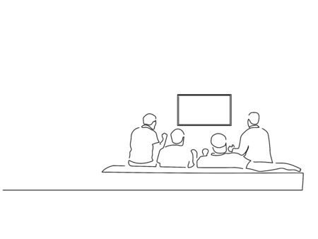 People at home isolated line drawing, vector illustration design.