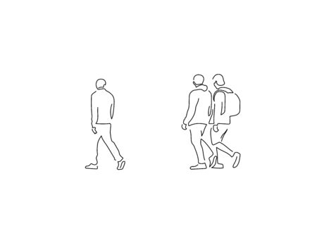 People on the street isolated line drawing, vector illustration design.