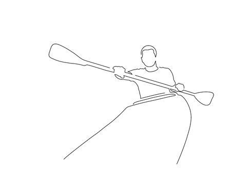 Outdoor sport line drawing, vector illustration design.
