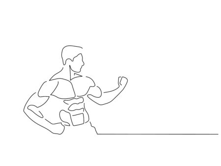 Bodybuilding isolated line drawing, vector illustration design. Sport collection.