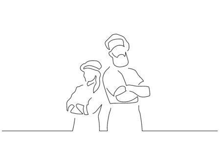 Baker isolated line drawing, vector illustration design. Food collection.